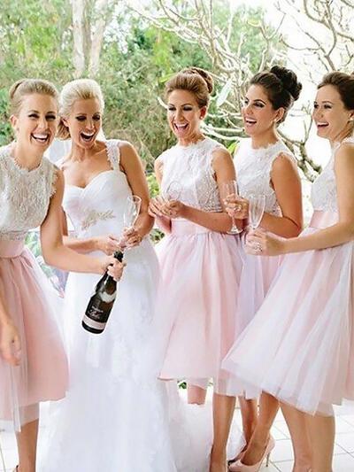 Knee-Length Scoop Neck A-Line/Princess Tulle Bridesmaid Dresses (007211695)