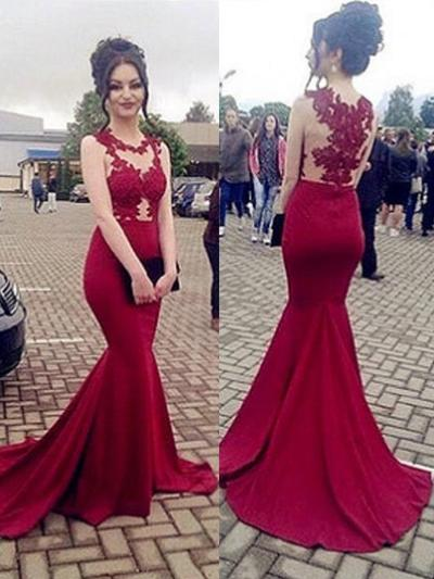 Trumpet/Mermaid Scoop Neck Sweep Train Prom Dresses With Appliques Lace (018218500)
