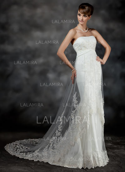 Ruffle Lace Sleeveless Sweetheart Tulle Trumpet/Mermaid Wedding Dresses (002196898)