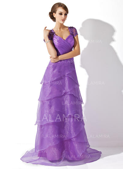 A-Line/Princess Organza Short Sleeves V-neck Sweep Train Zipper Up Mother of the Bride Dresses (008005749)
