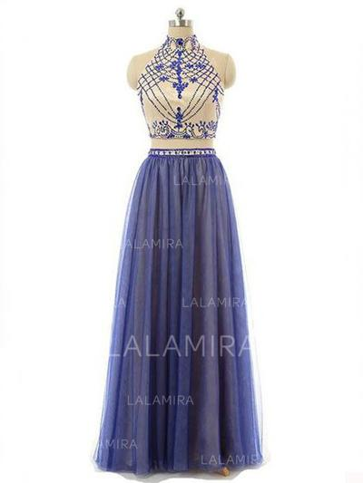 A-Line/Princess High Neck Floor-Length Prom Dresses With Beading (018218115)