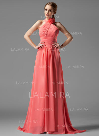 A-Line Halter Sweep Train Chiffon Bridesmaid Dress With Ruffle Flower(s) (007004138)