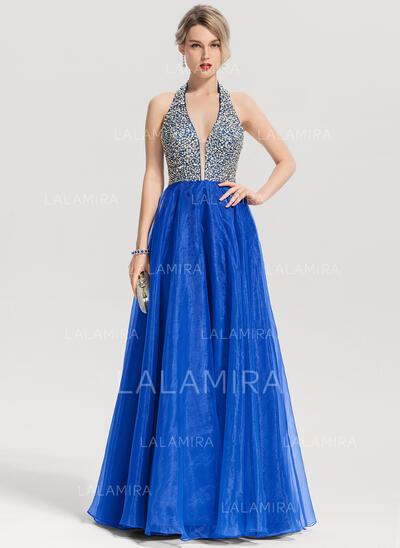 V-neck Floor-Length Organza Prom Dresses