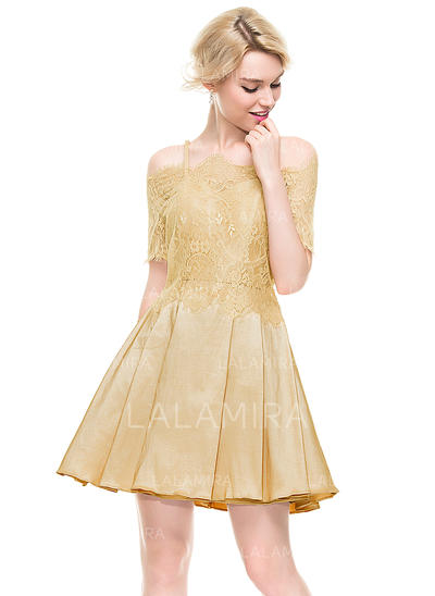 Taffeta Bretelles spaghetti Forme Princesse Amoureux Robes de soirée étudiante (022214095)