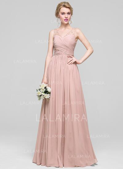 A-Line/Princess V-neck Floor-Length Chiffon Evening Dress With Ruffle Beading Sequins (017096362)