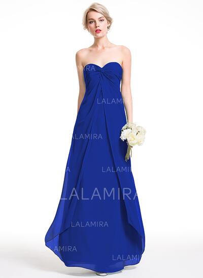 Empire Sweetheart Floor-Length Chiffon Bridesmaid Dress With Ruffle (007087732)