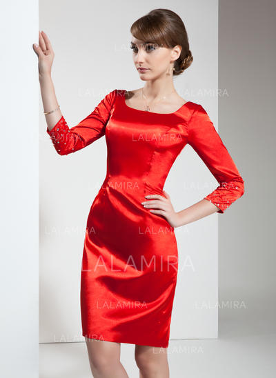 Sheath/Column Square Neckline Knee-Length Charmeuse Cocktail Dresses With Beading (016021239)