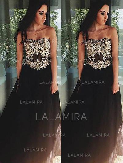 Appliques Floor-Length Sleeveless With Tulle Evening Dresses (017210895)