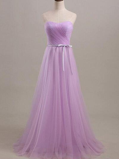 A-Line/Princess Sweetheart Floor-Length Bridesmaid Dresses With Ruffle Sash (007212140)