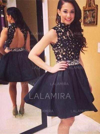 A-Line/Princess High Neck Knee-Length Homecoming Dresses With Sequins (022212335)