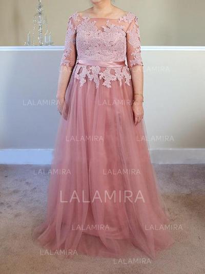 Corte A/Princesa Escote Cuadrado Tul Delicado Vestidos de madrina (008212744)