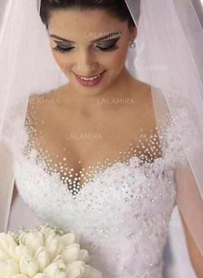 Lace Beading Sequins Ball-Gown With Luxurious Tulle Wedding Dresses (002148056)