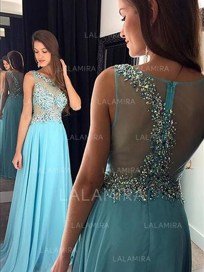 A-Line/Princess Floor-Length Chiffon Evening Dresses With Beading Sequins (017216995)