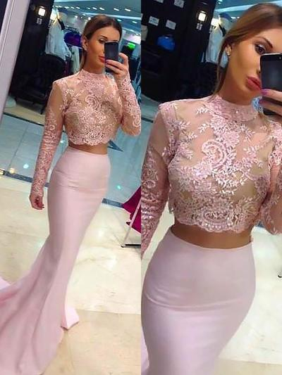 Trumpet/Mermaid Charmeuse Prom Dresses Beading High Neck Long Sleeves Sweep Train (018148474)