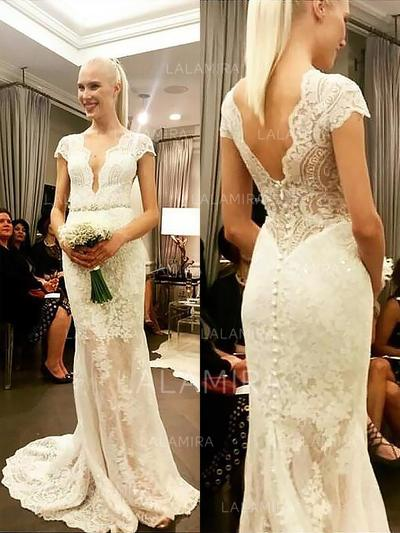 Elegant Lace Sheath/Column With Lace Wedding Dresses (002147977)