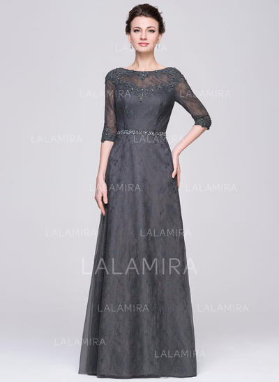 A-Line/Princess Scoop Neck Tulle Lace Modern Mother of the Bride Dresses (008211522)