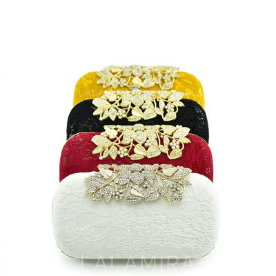 Clutches/Bridal Purse/Fashion Handbags/Makeup Bags Wedding/Ceremony & Party/Casual & Shopping/Office & Career Lace Clip Closure Elegant Clutches & Evening Bags (012187609)