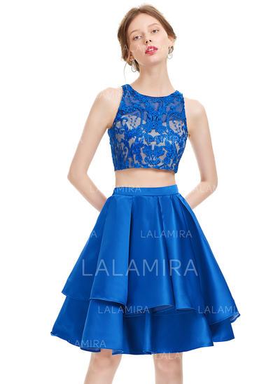 A-Line/Princess Knee-Length Satin Homecoming Dresses (022214165)