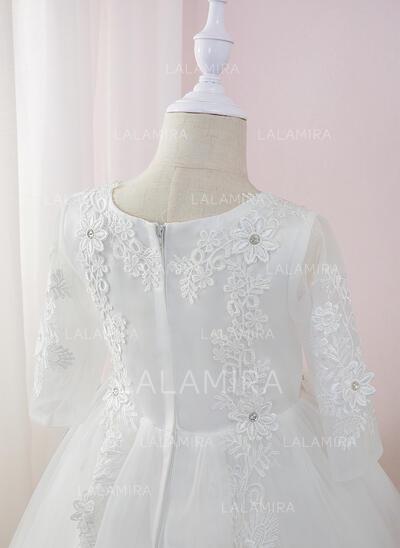De Baile/Princesa Comprimento médio Vestidos de Menina das Flores - Tule/Renda Manga comprida Decote redondo com Beading/fecho de correr (010207210)