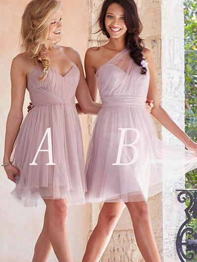 A-Line/Princess Tulle Bridesmaid Dresses Ruffle Sweetheart Sleeveless Short/Mini (007211686)