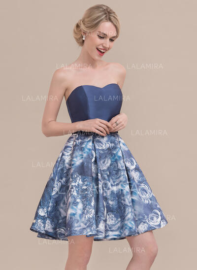 Vestidos princesa/ Formato A Amada Curto/Mini Cetim Vestido de cocktail (016126099)