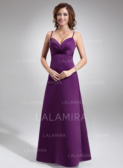 Simple Empire Spaghetti Straps Satin Bridesmaid Dresses (007004279)