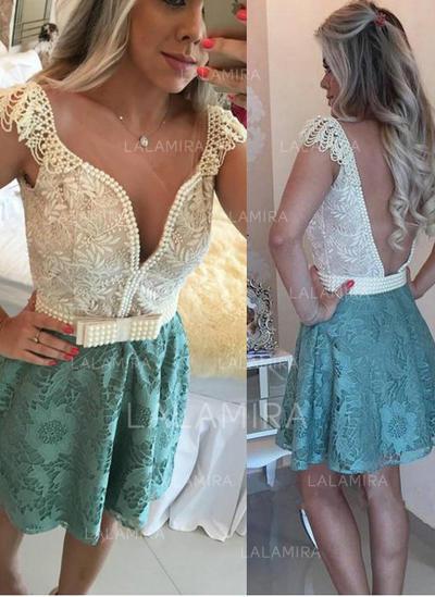Short Sleeves A-Line/Princess Simple Lace Cocktail Dresses (016145298)