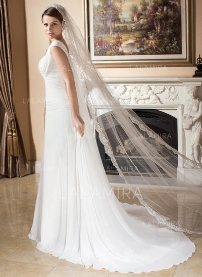 Cathedral Bridal Veils Tulle One-tier Drop Veil/Rectangular With Lace Applique Edge Wedding Veils (006151007)