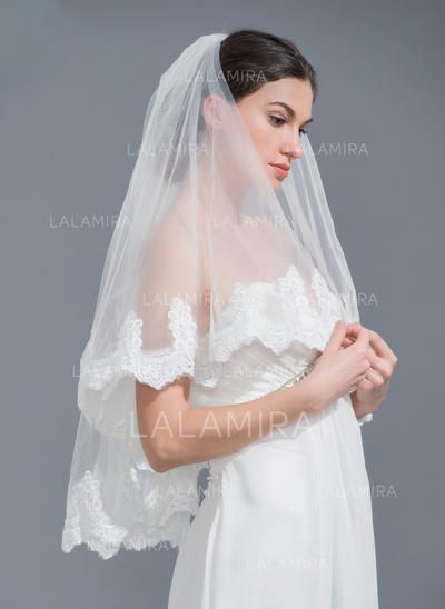 Elbow Bridal Veils Tulle Two-tier Classic With Lace Applique Edge Wedding Veils (006152234)