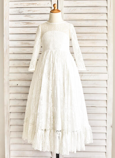 A-Line/Princess Floor-length Flower Girl Dress - Satin/Lace Long Sleeves Scoop Neck With Sash (010091411)