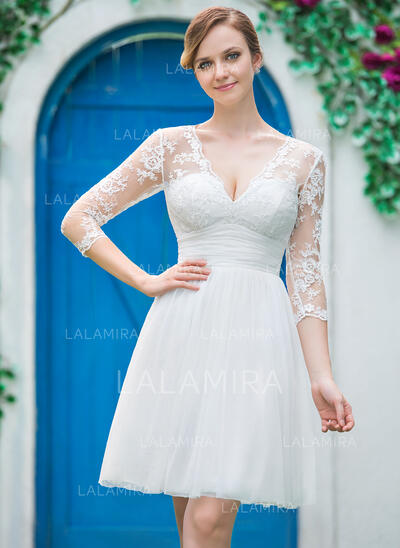 A-Line V-neck Knee-Length Tulle Lace Wedding Dress With Ruffle Bow(s) (002042286)