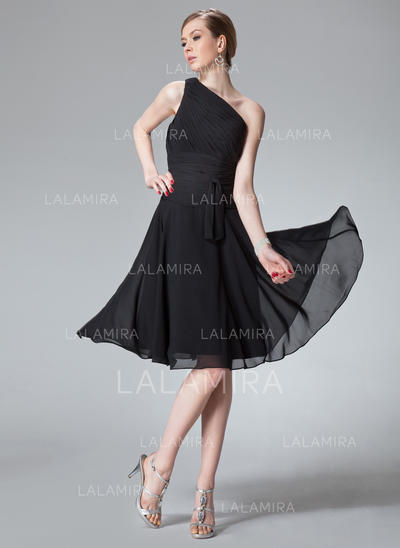 A-Line/Princess Chiffon Bridesmaid Dresses Ruffle One-Shoulder Sleeveless Knee-Length (007013958)
