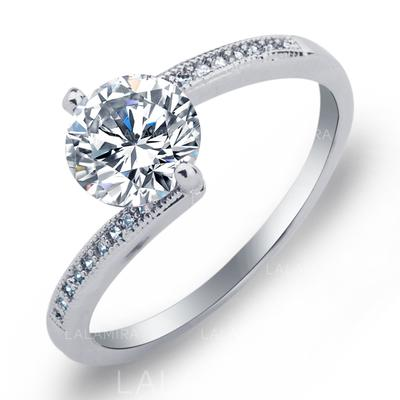 Rings Copper/Zircon/Platinum Plated Ladies' Sparking Wedding & Party Jewelry (011165387)