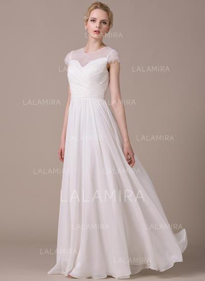 Deslumbrante Gasa Vestidos de novia con Corte A/Princesa Bola (002210616)