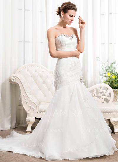 Strapless Sleeveless Sweetheart With Organza Wedding Dresses (002210580)