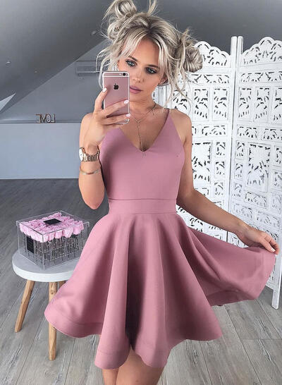 A-Line/Princess V-neck Short/Mini Satin Cocktail Dresses With Ruffle (016217673)