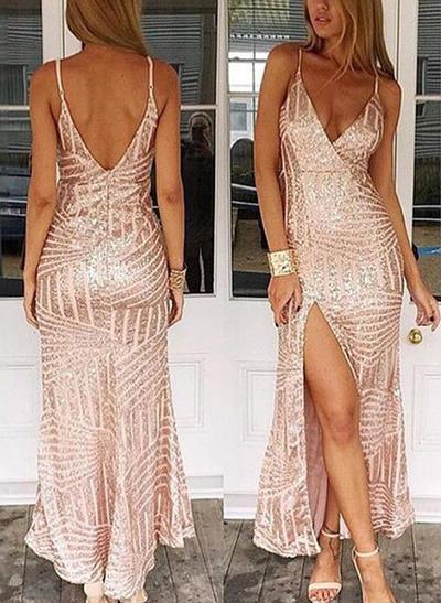 Sheath/Column Floor-Length Prom Dresses V-neck Sequined Sleeveless (018146551)