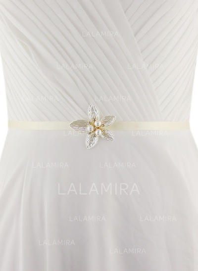 Women Satin With Imitation Pearls Sash Beautiful Sashes & Belts (015191734)