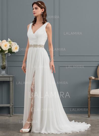 A-Line/Princess V-neck Sweep Train Chiffon Wedding Dress With Ruffle Lace Beading Split Front (002145283)