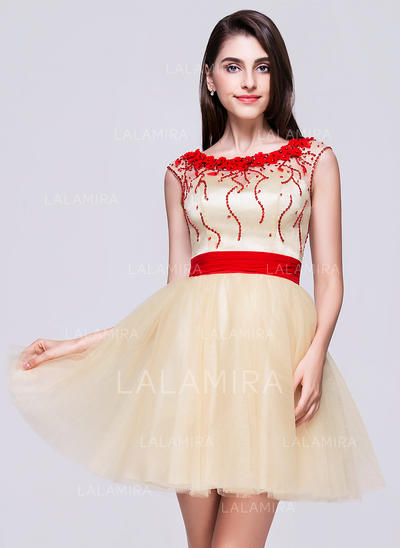 A-Line/Princess General Tulle Scoop Neck Homecoming Dresses (022068070)