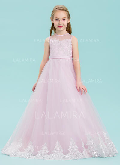 Ball Gown Floor-length Flower Girl Dress - Tulle/Lace Sleeveless Scoop Neck With Sequins/Bow(s) (010143246)