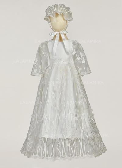 Satiné Tulle Col rond Fleur(s) Robes de baptême bébé fille avec manches 3/4 (2001217403)