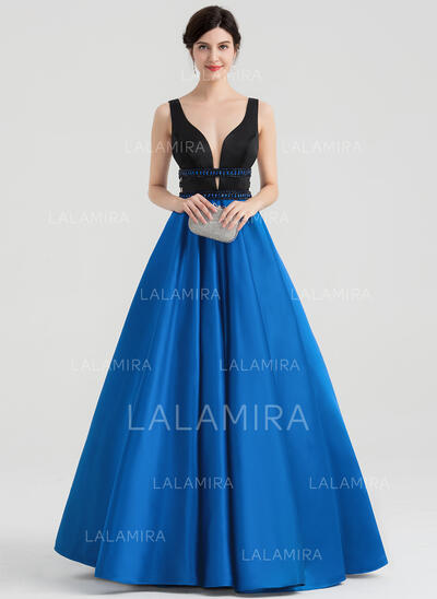 Ball-Gown V-neck Floor-Length Satin Evening Dress With Beading Sequins (017153634)