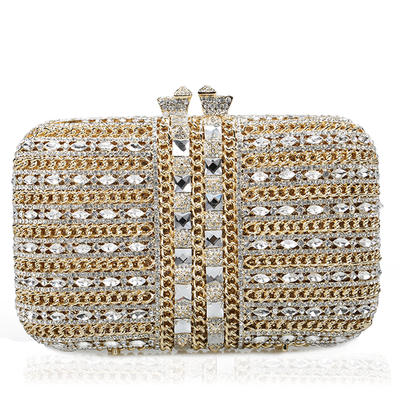 Wristlets/Bridal Purse/Luxury Clutches Wedding/Ceremony & Party Crystal/ Rhinestone/Gold Plated Magnetic Closure Gorgeous Clutches & Evening Bags (012185847)