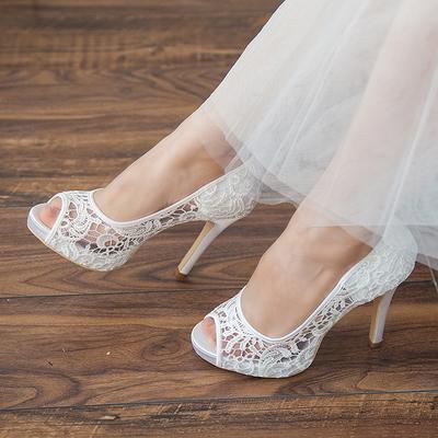 Women's Peep Toe Platform Sandals Stiletto Heel Lace Wedding Shoes (047205151)