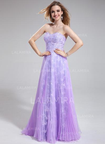 Organza Lace Elegant A-Line/Princess Floor-Length Prom Dresses (018025276)