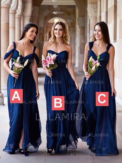 A-Line/Princess Chiffon Bridesmaid Dresses Ruffle Sweetheart Sleeveless Floor-Length (007211568)