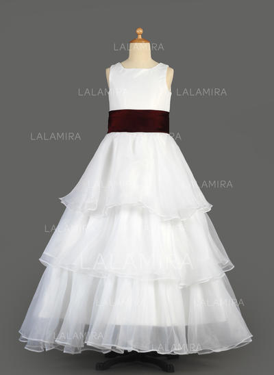 Simple Scoop Neck A-Line/Princess Organza/Satin Flower Girl Dresses (010014639)