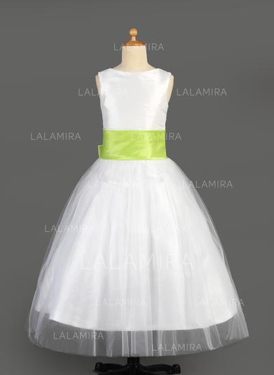 Tulle/Charmeuse A-Line/Princess Sash/Flower(s)/Bow(s) Newest Flower Girl Dresses (010014646)