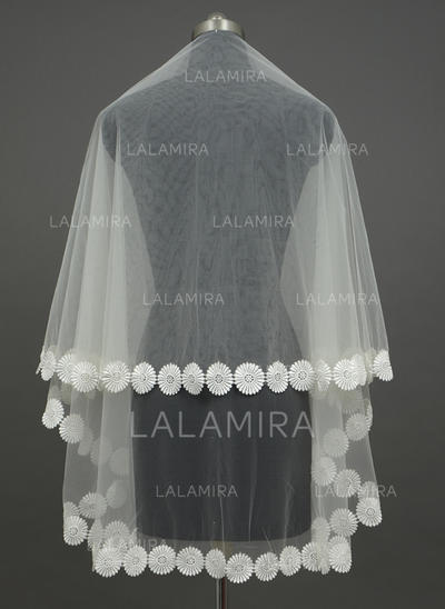 Fingertip Bridal Veils Tulle One-tier Classic With Lace Applique Edge Wedding Veils (006151241)